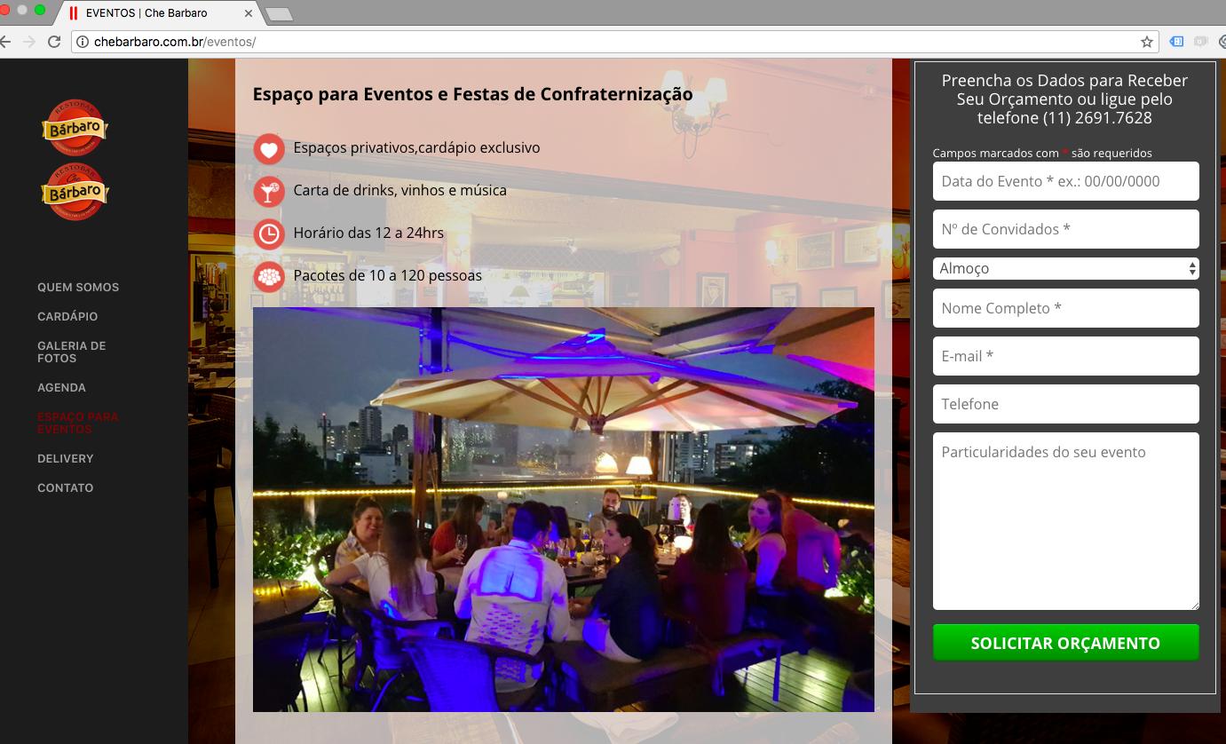 Exemplo Landing Page de reserva para eventos