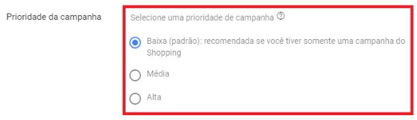 Prioridade da Campanha - como anunciar no google shopping